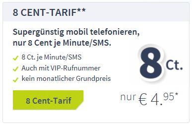 bigSIM 8 Cent Tarif